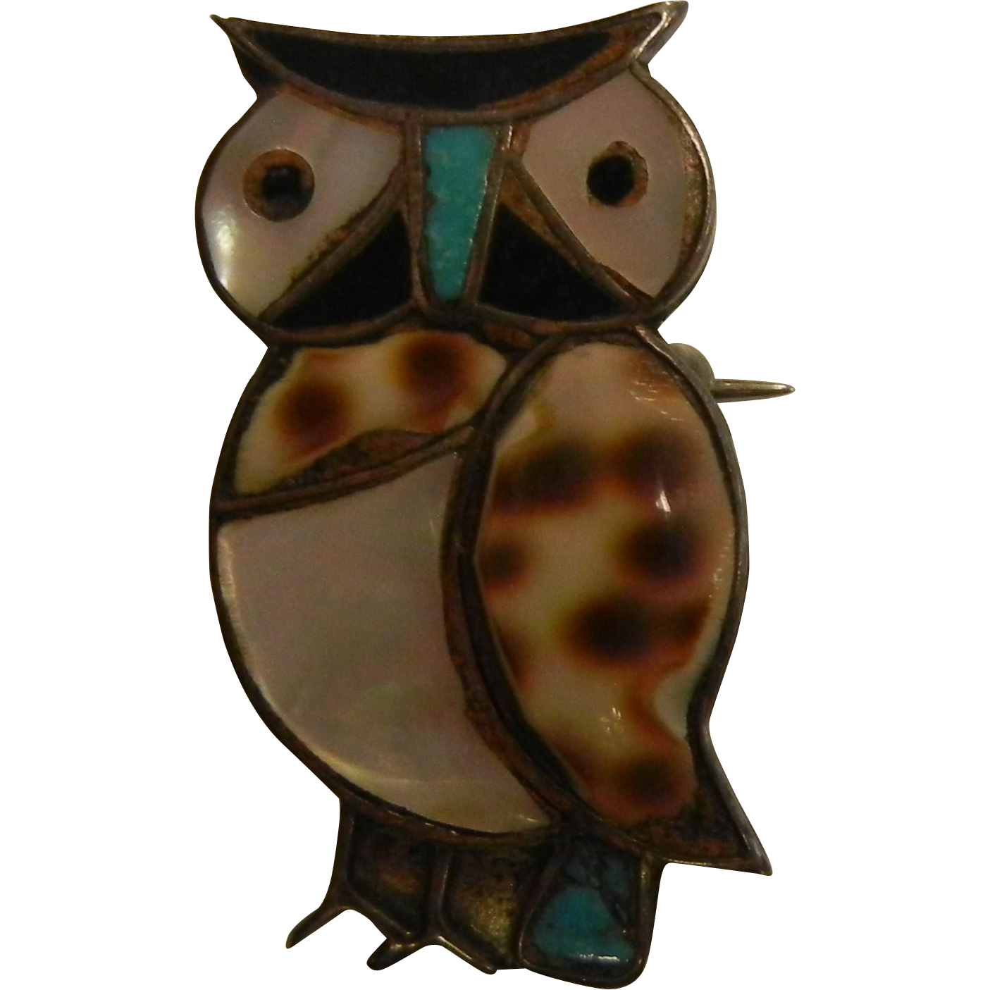 Vintage Signed Mexico Sterling Silver Owl Brooch