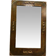 Fine Brushed Metal Framed Wall Mirror w/ Leather Backing