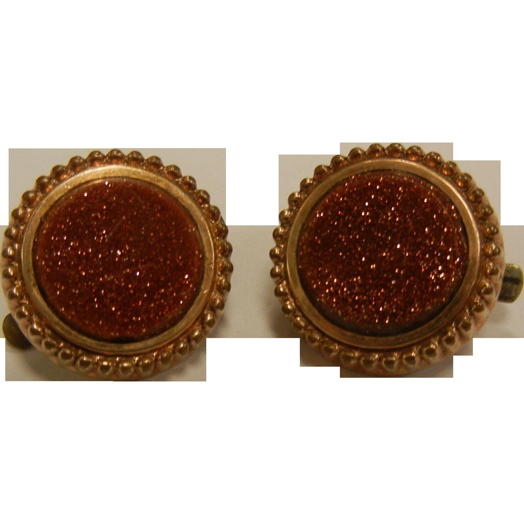 Vintage Goldstone Cuff Links