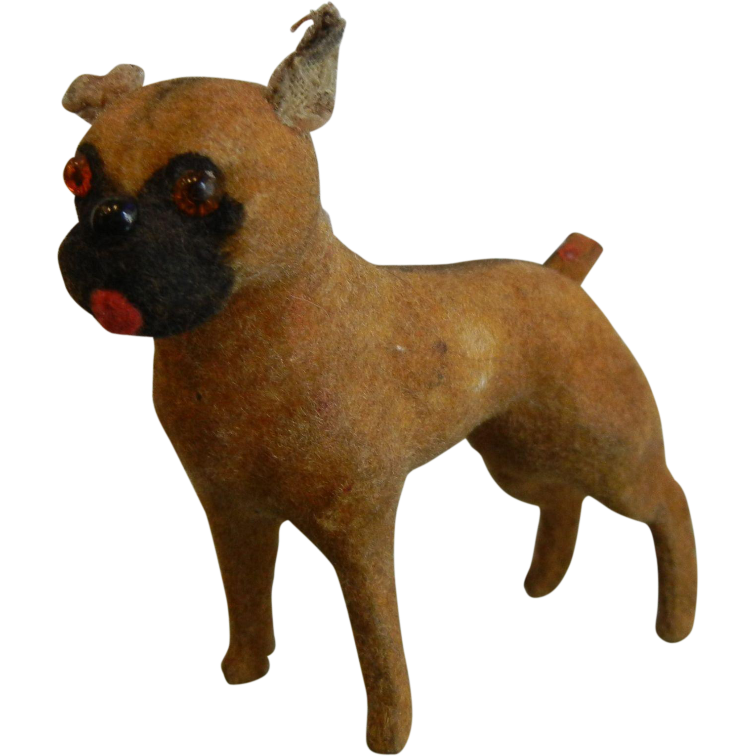 Vintage German Flocked Fur Miniature Toy Boxer Dog