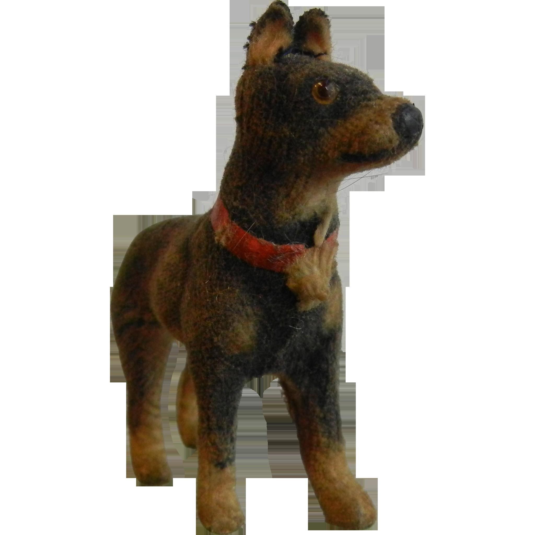 Rare Vintage German Flocked Furry Miniature Toy Dog