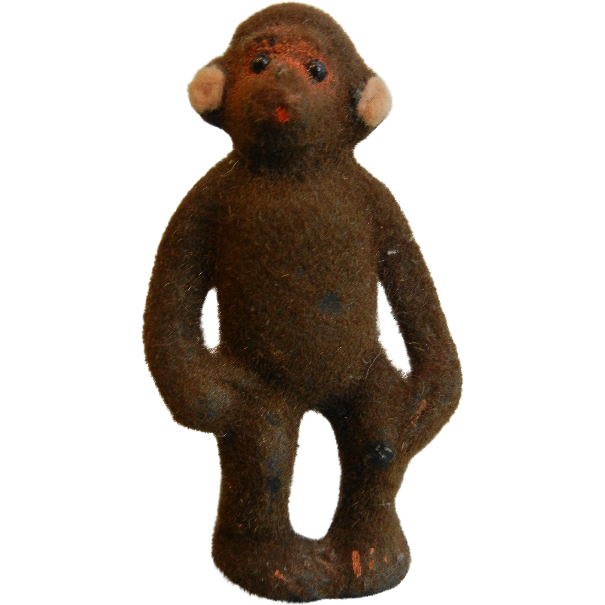 Vintage WAGNER Handwork West Germany Original Miniature Toy Flocked Fure Monkey