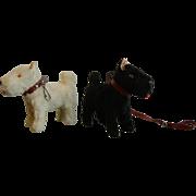 Vintage German  Miniature FurToy Scottie & Westie Terrier Dogs
