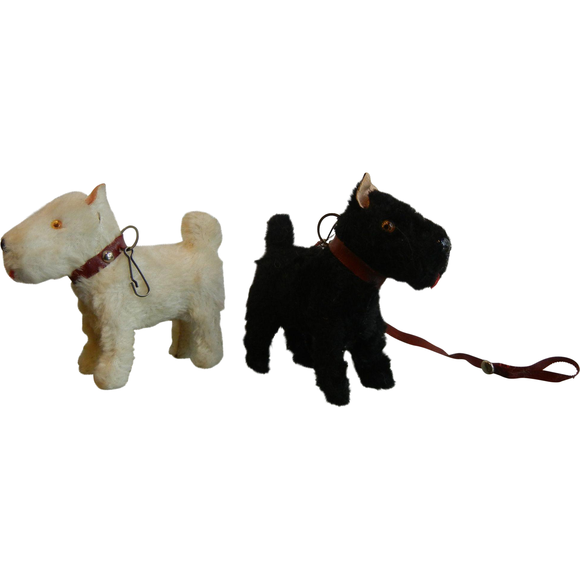Vintage German  Miniature FurToy Scottie & Westie Terrier Dogs