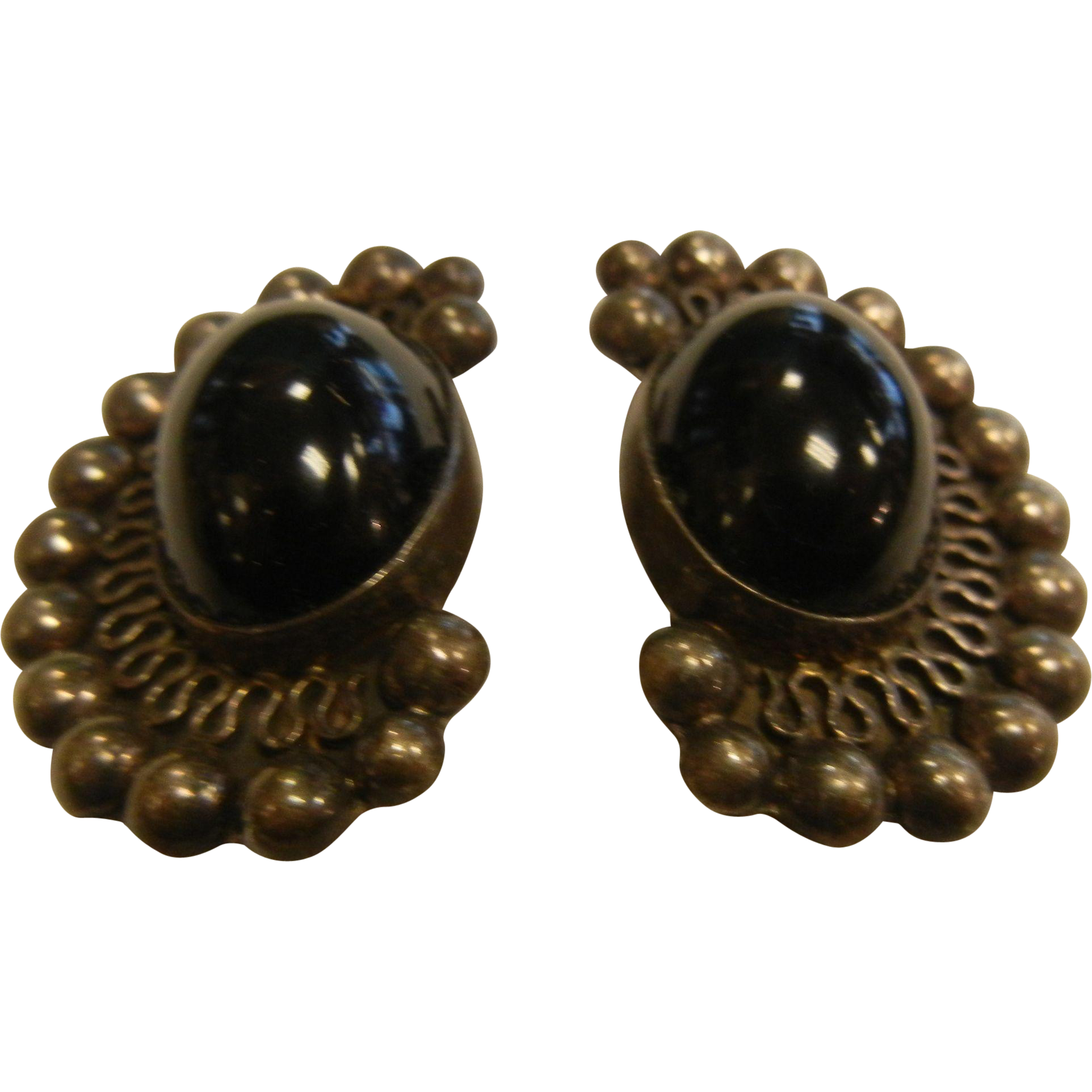 Vintage Mexico Sterling Silver Clip Earrings w/ Black Onyx Cabochons