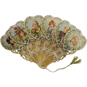 Vintage Gorgeous Forget me Not Flowers Embossed & Gilded Paper Fan