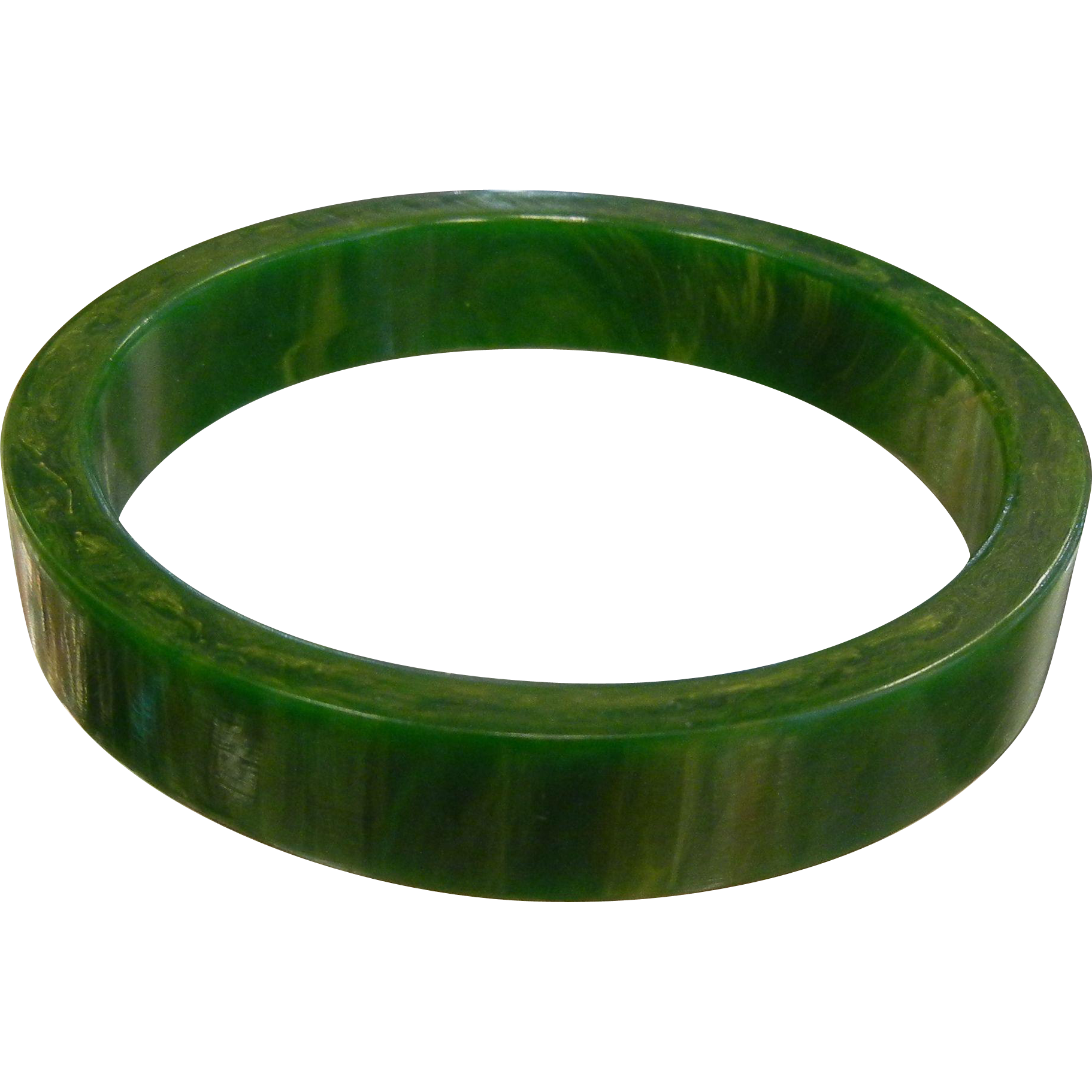 Vintage Green Bakelite Bangle Bracelet