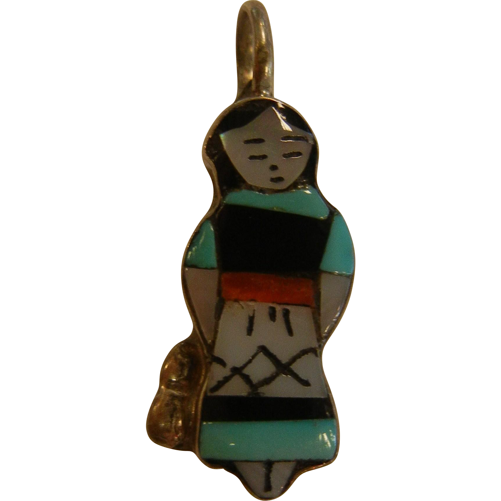Vintage ZUNI Signed Maiden Pendent by Teresa Waseta
