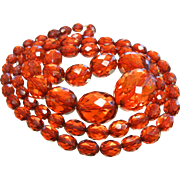 """Vintage Cherry Amber Red-Orange Faceted Plastic Bead Necklace 31"""""""