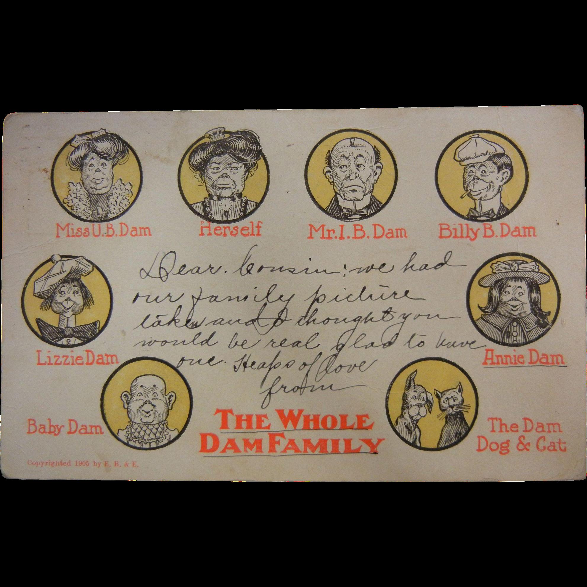 1905 Postcard by E.B.&E. - 'The Whole Dam Family'