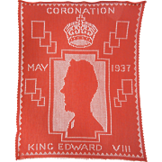 Vintage Hand Made Red Textile - Coronation of King Edward VIII