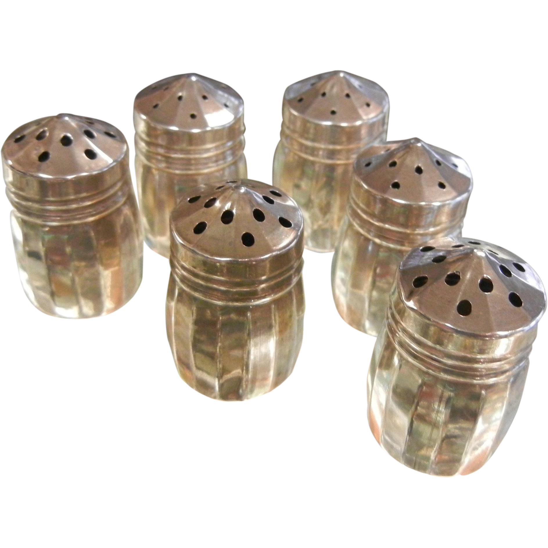 Vintage Set of Six Personal Sterling Silver Salt & Pepper Shakers