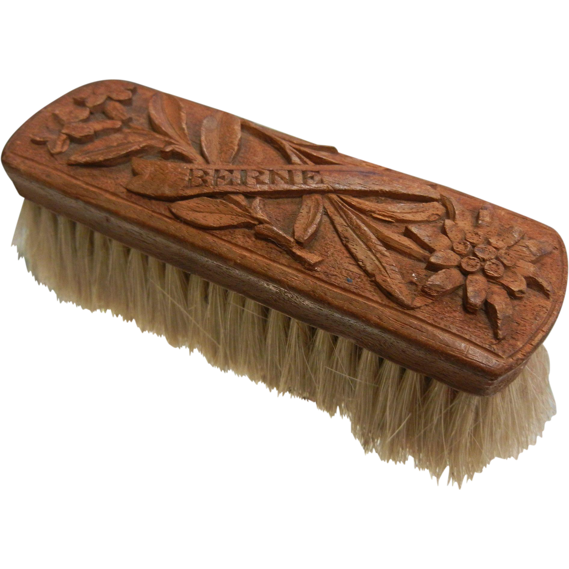 Vintage Clothing Brush w/ Beautifully Carved Wooden Handle - BERNE Switzerland