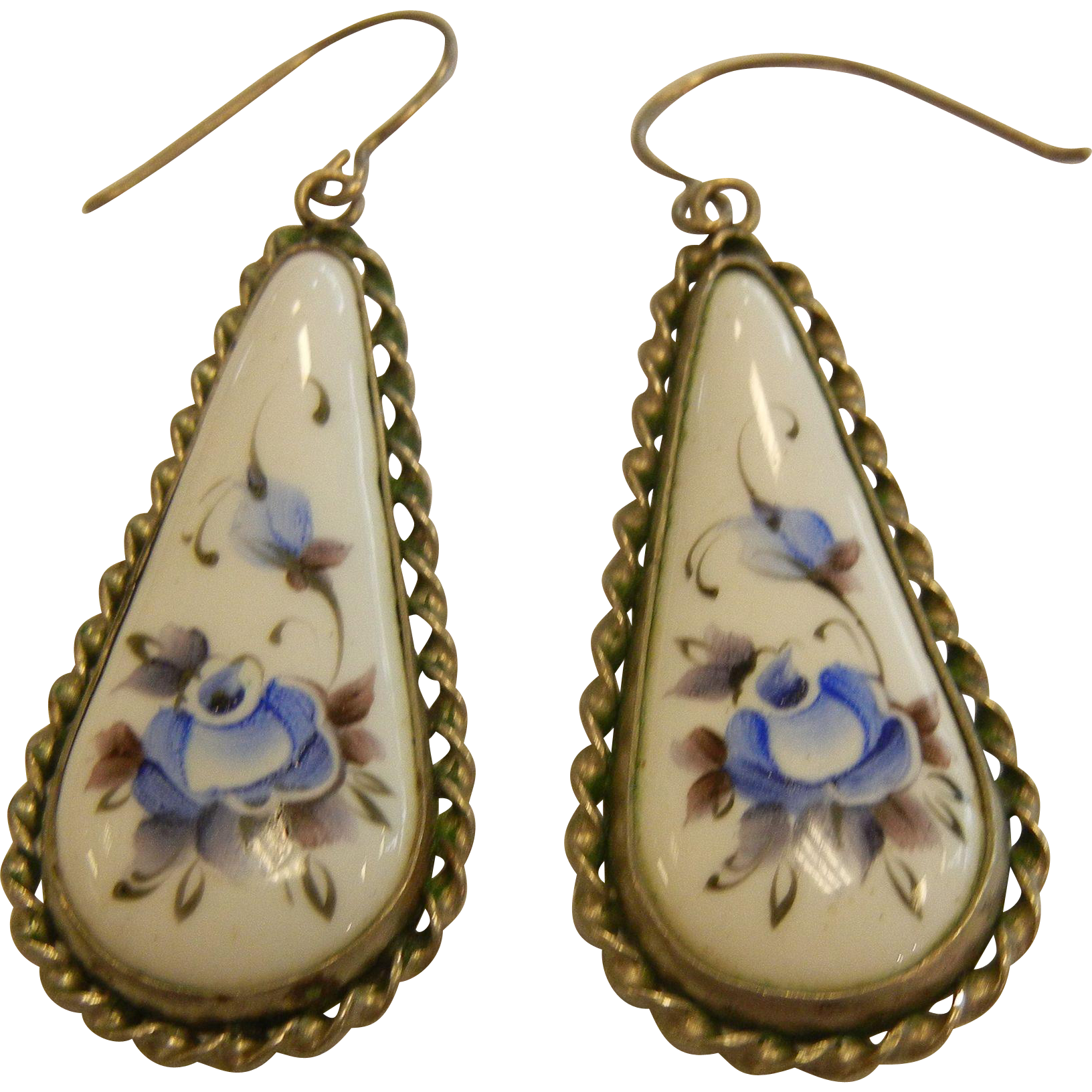 Vintage Pair of Russian Enameled Floral Drop Earrings