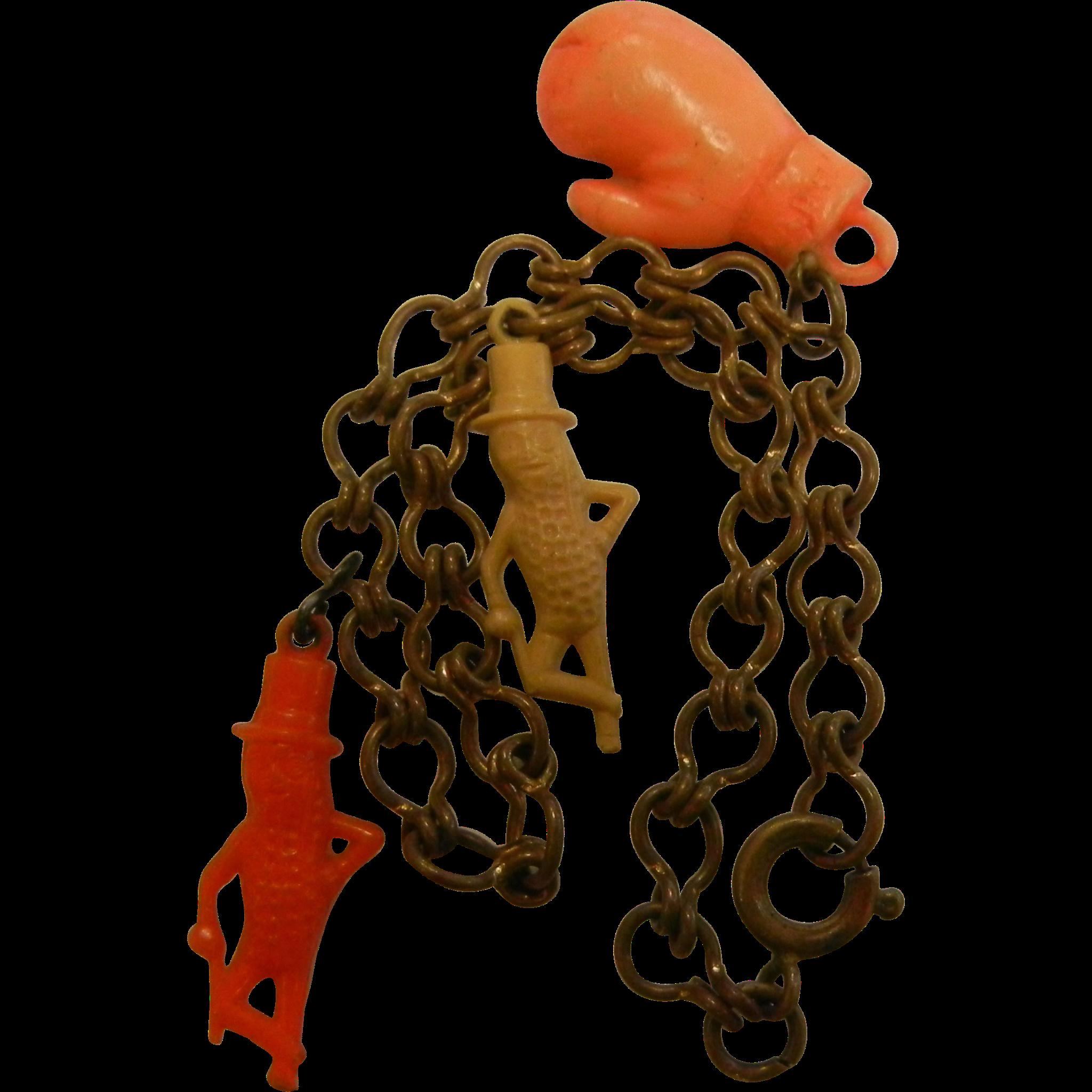 Vintage 1950's Celluloid Plastic Mr. Peanut Charm Bracelet w/ Three Charms