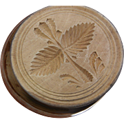 Old Wooden Butter Mold w/ Leaves Design