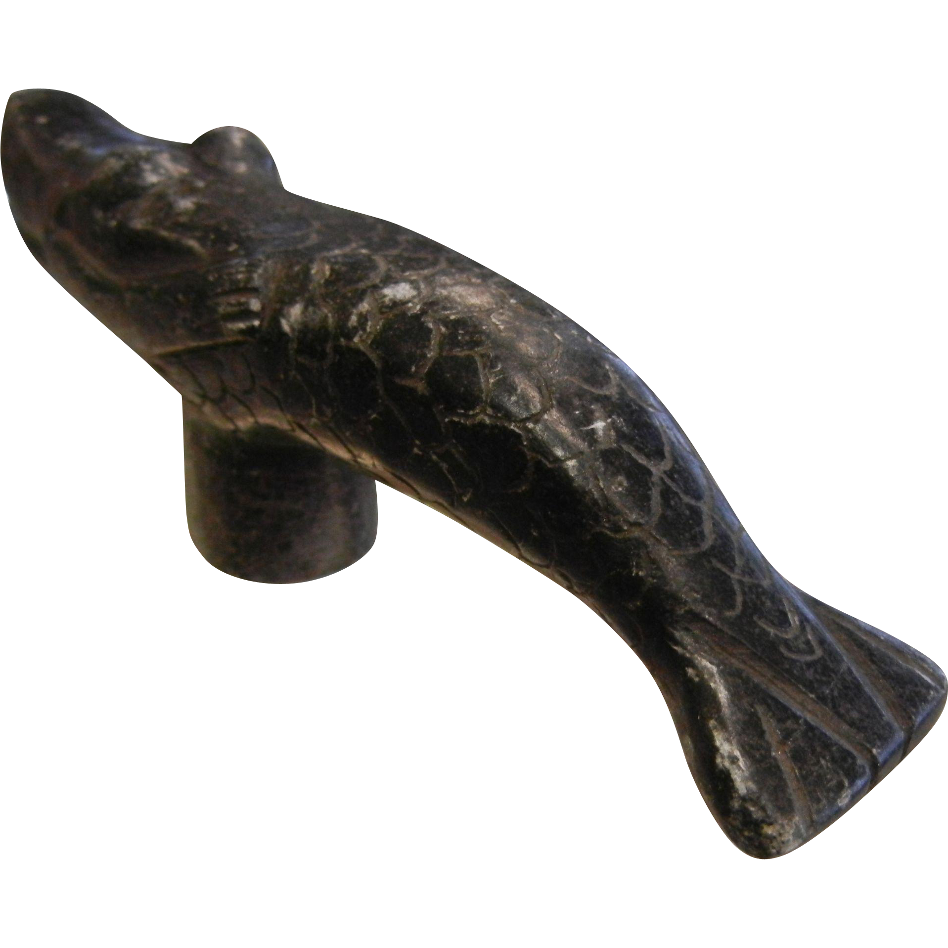 Unique  Mermaid Whale Carved Stone Figure Pipe