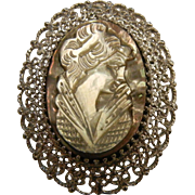 Vintage Sterling Silver Brooch w/ Abalone Cameo