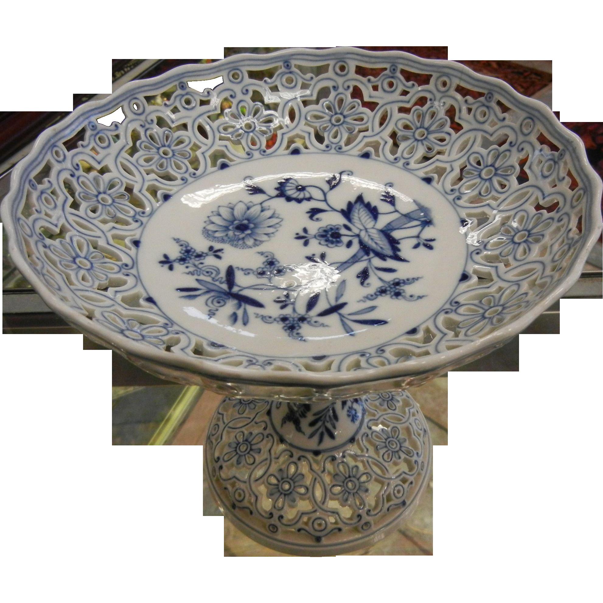 Antique Meissen Signed White & Blue Porcelain Pedestal Dish Tazza