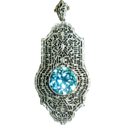 Fabulous Vintage 14 K White Gold Pendent w/ Natural Blue Zircon