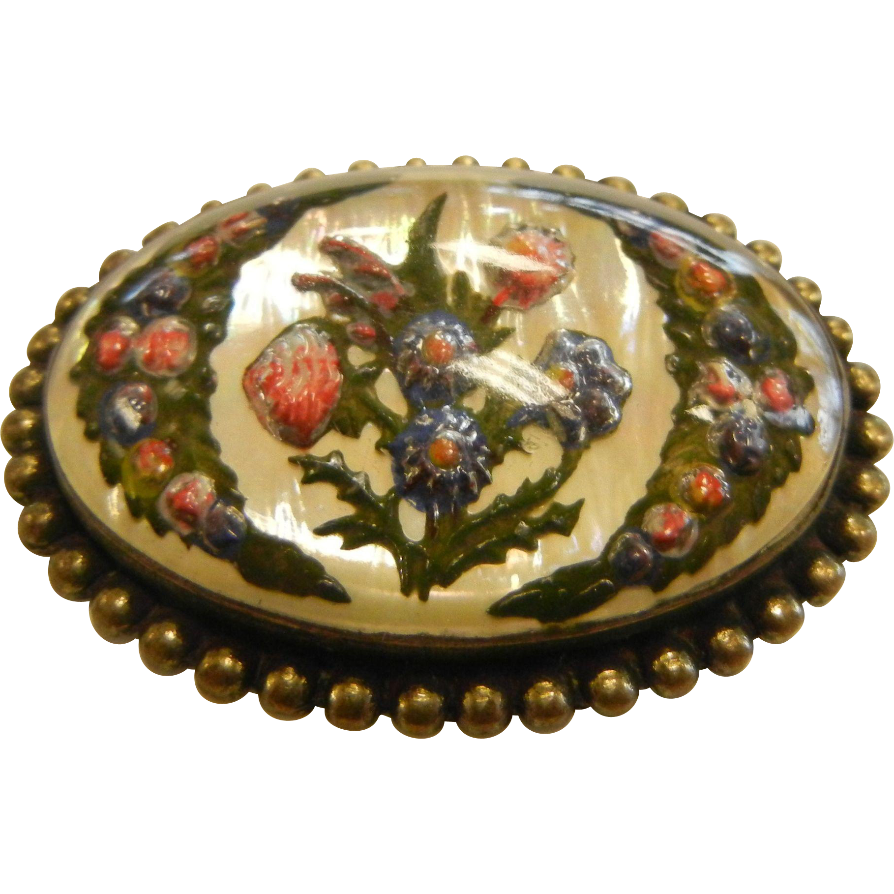 Vintage Goofus Intaglio Glass Brooch w/ Floral Designs