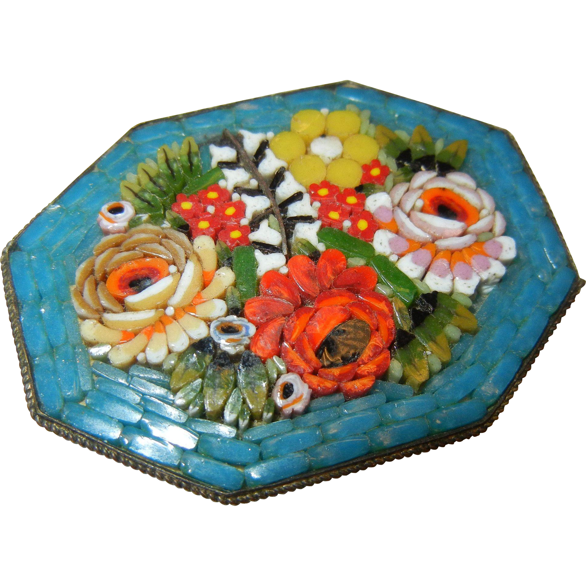 Vintage Italian Micro Mosaic Floral Design Brooch