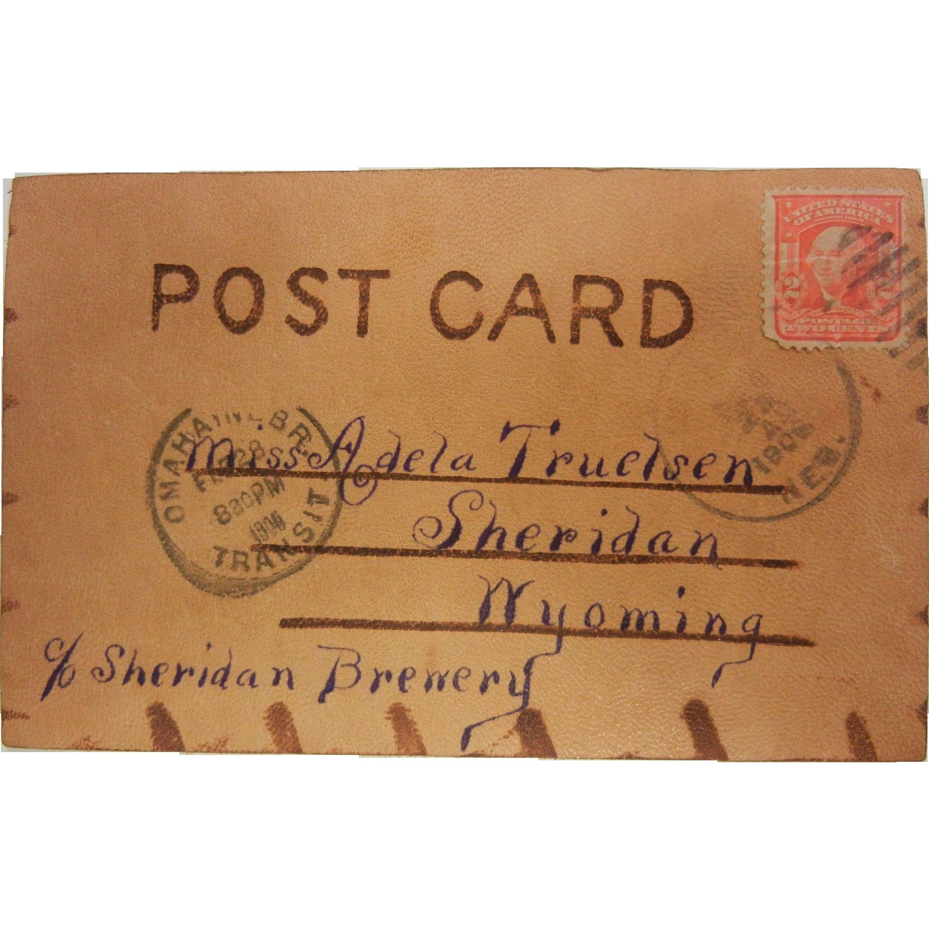 """Vintage 1906 Stamped Handmade Leather Postcard """"Looking for you in Millard, Nebraska"""""""