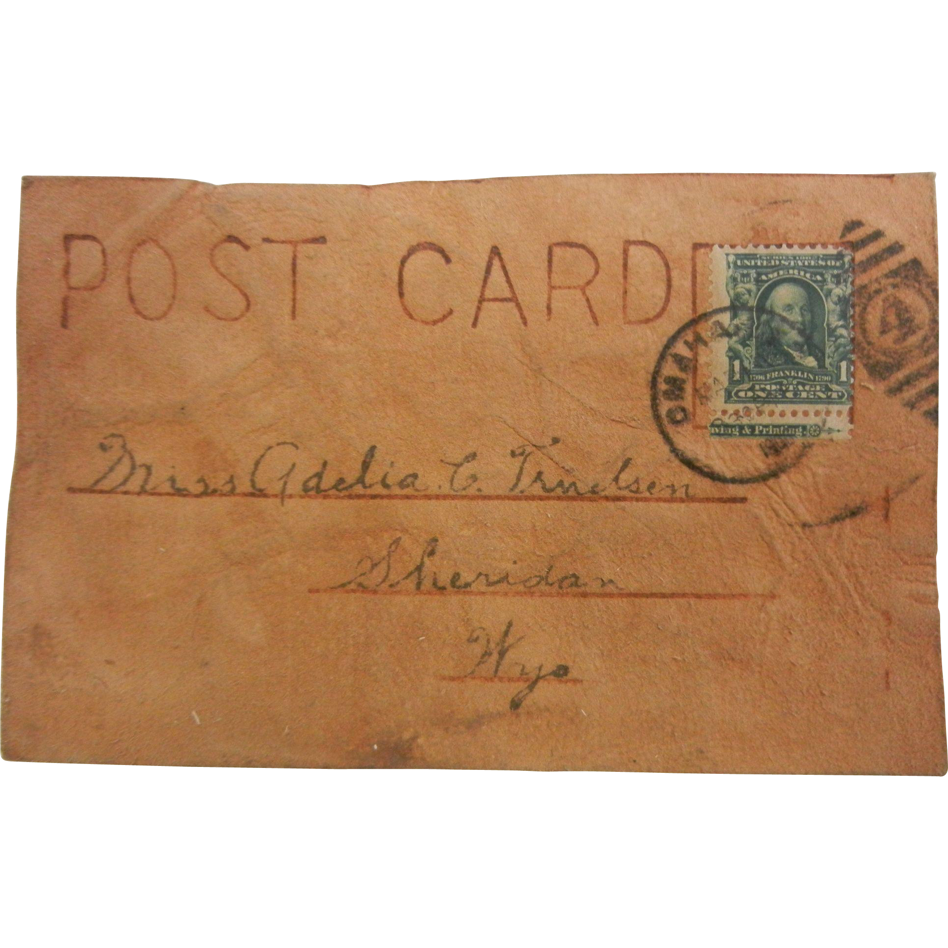 "Vintage Handcrafted Leather Postcard - ""Stork & Baby"""
