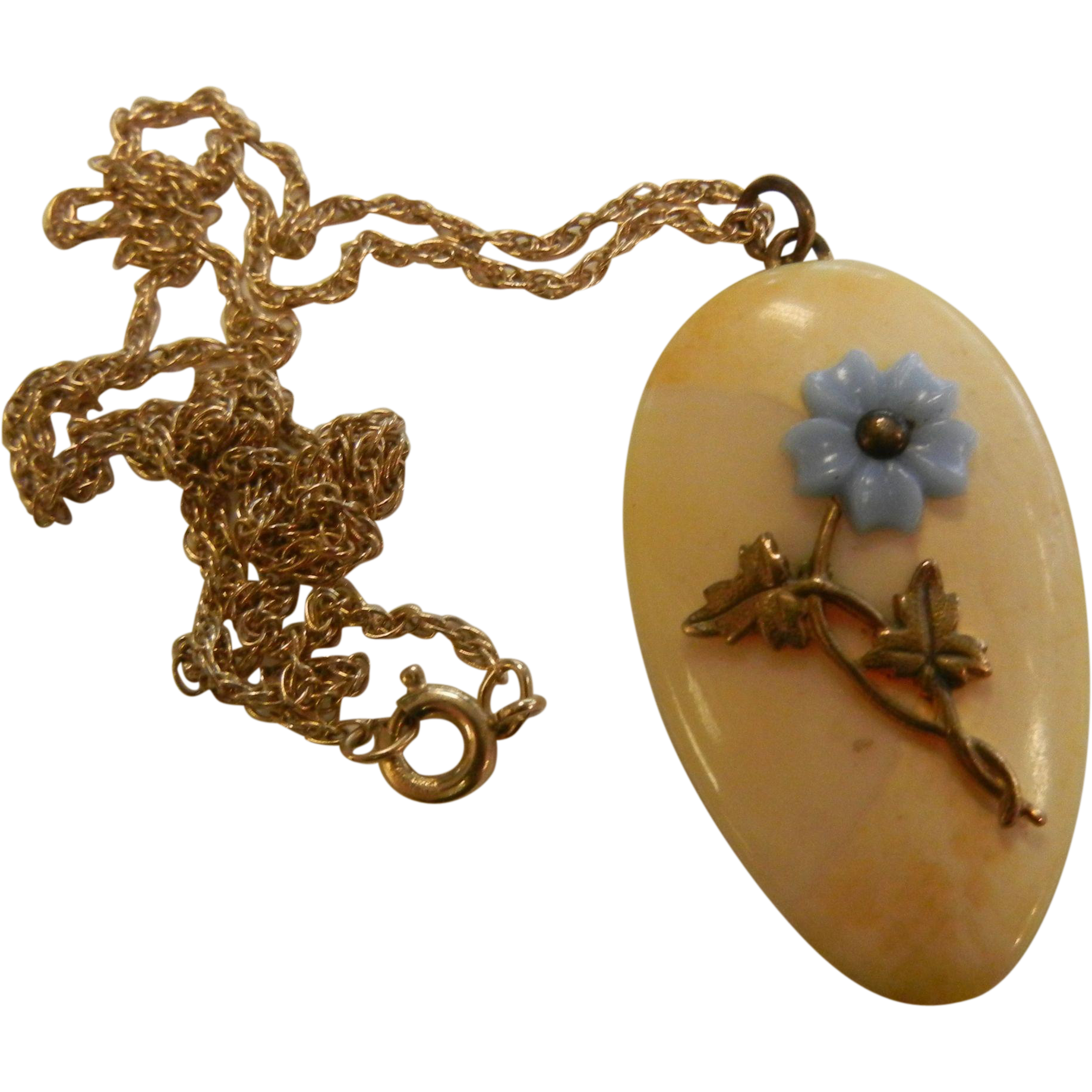 Vintage Bone Pendent w/ Gold Filled Forget Me Not