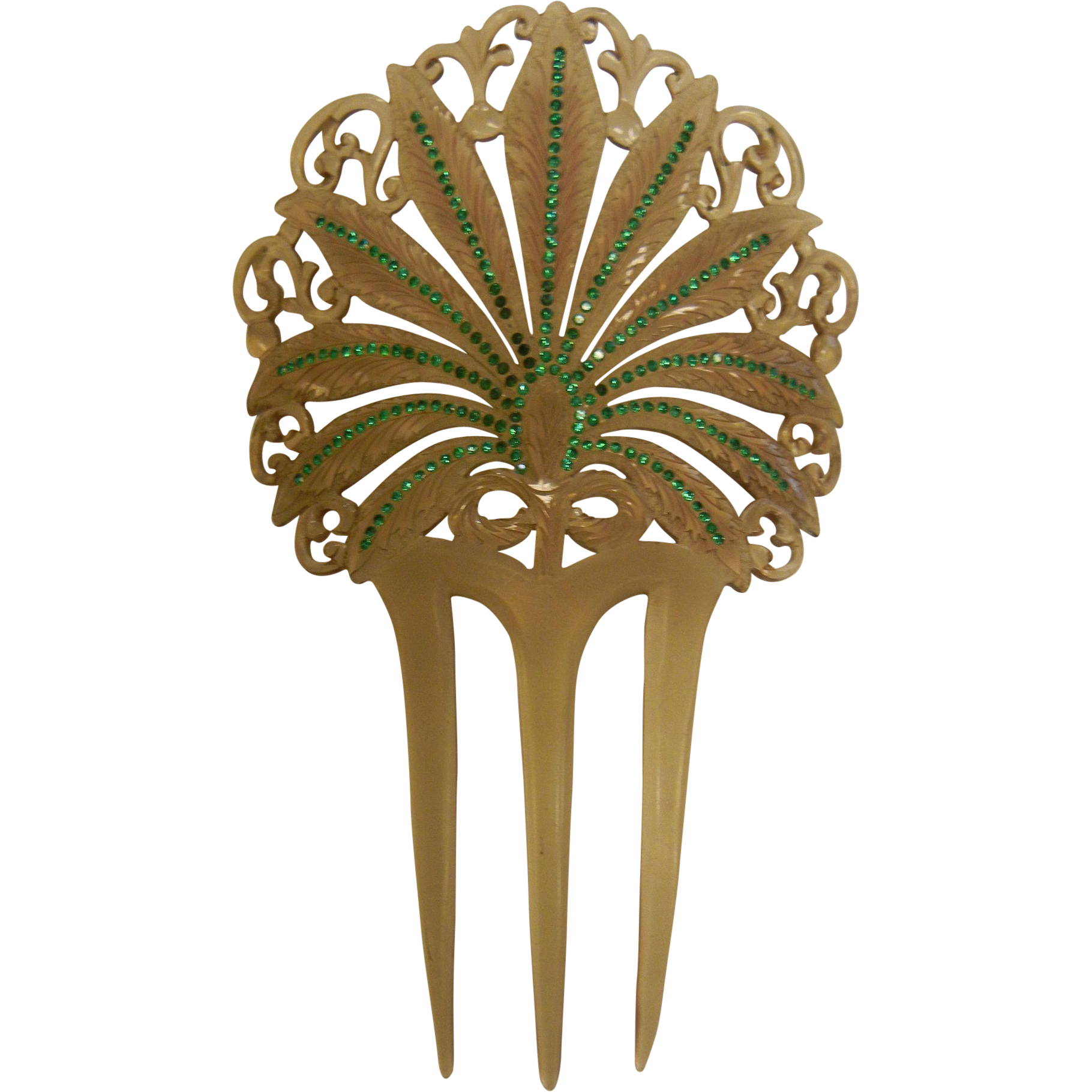 Vintage Jeweled Plastic Hair Comb