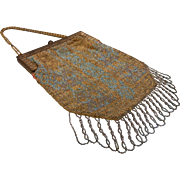 Antique French Beaded Steal Mesh Handbag