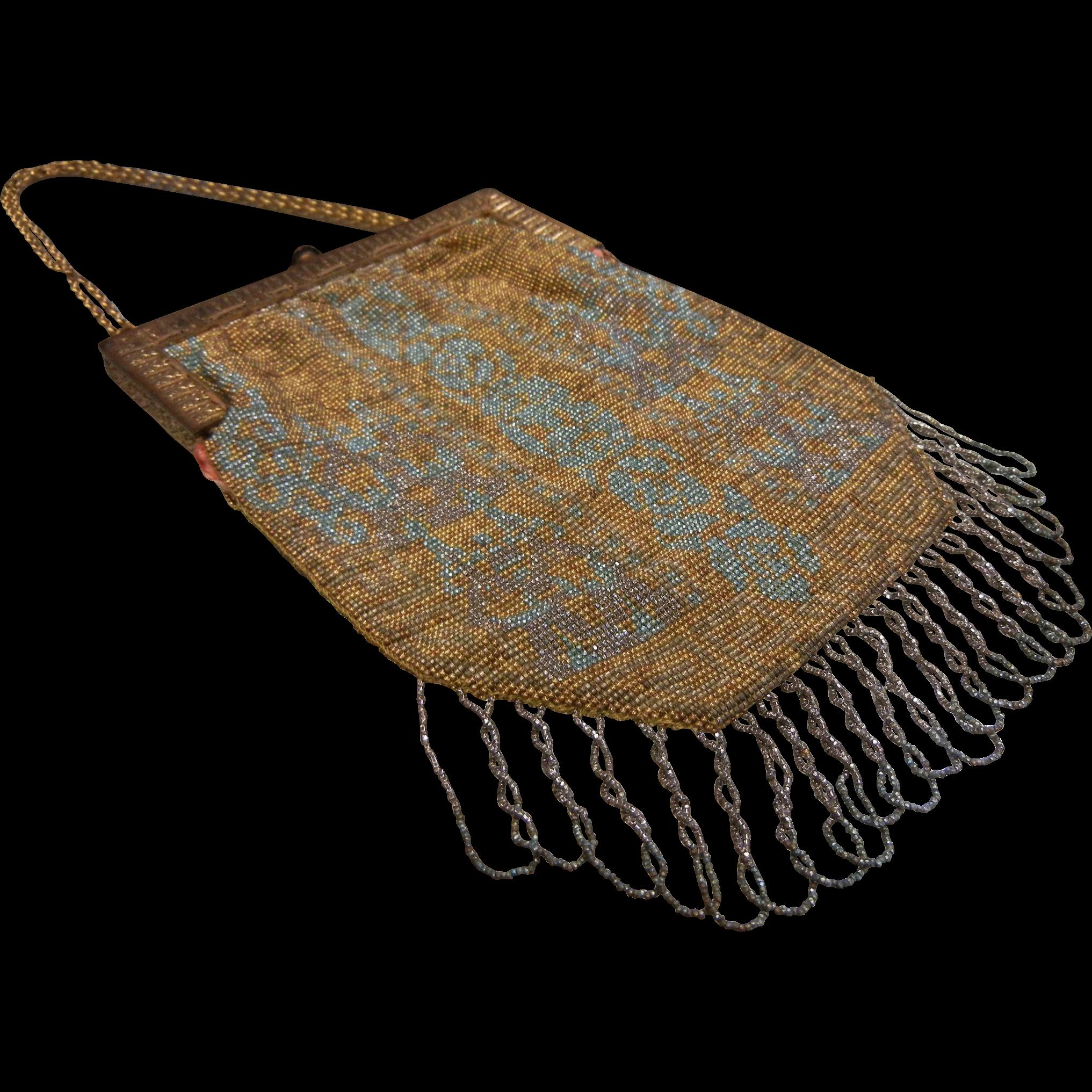 Antique French Beaded Steal Mesh Handbag
