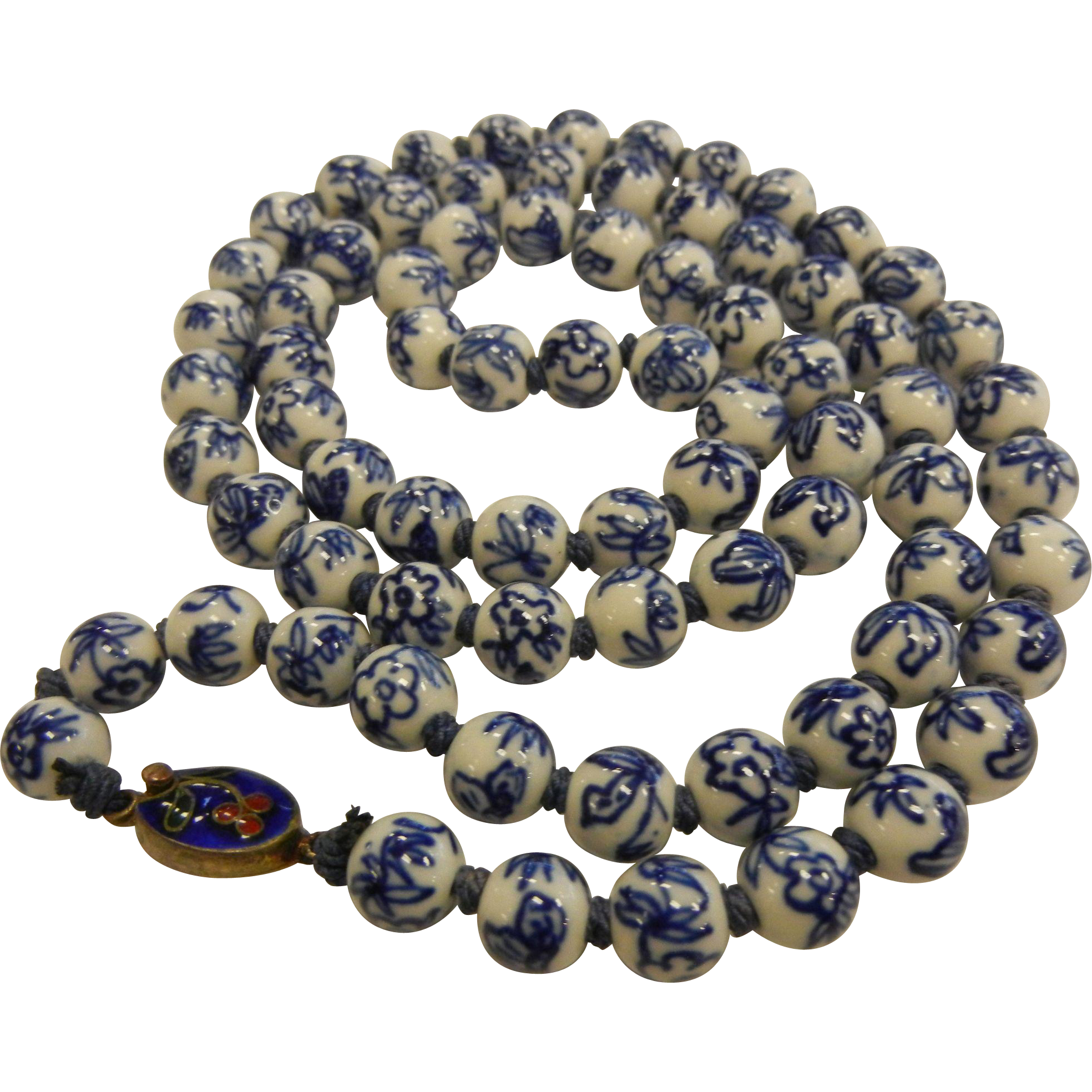 Vintage Chinese Blue & White Porcelain Bead Necklace w/ Enameled Clasp