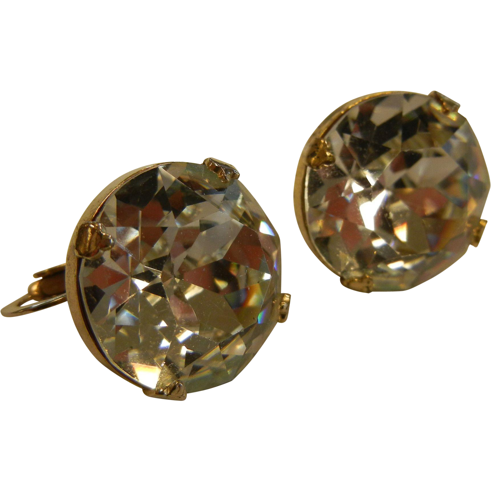 Giant Vintage Brilliant Rhinestone Clip-On Earrings