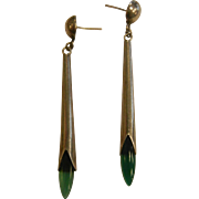 Vintage Sterling Silver Long Mid Century Earrings w/ Green Stones