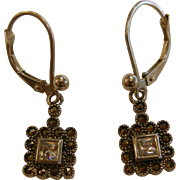 Sparkling Square Sterling Silver & Marcasite Hook Earrings
