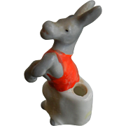 Vintage Hand Painted Porcelain Candle Holder - Circus Dancing Donkey
