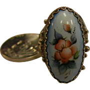 Vintage Silver Filigree Ring With Enameled Flower Decor