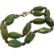 VintageGeometric Polished Natural Turquoise Nugget Bracelet