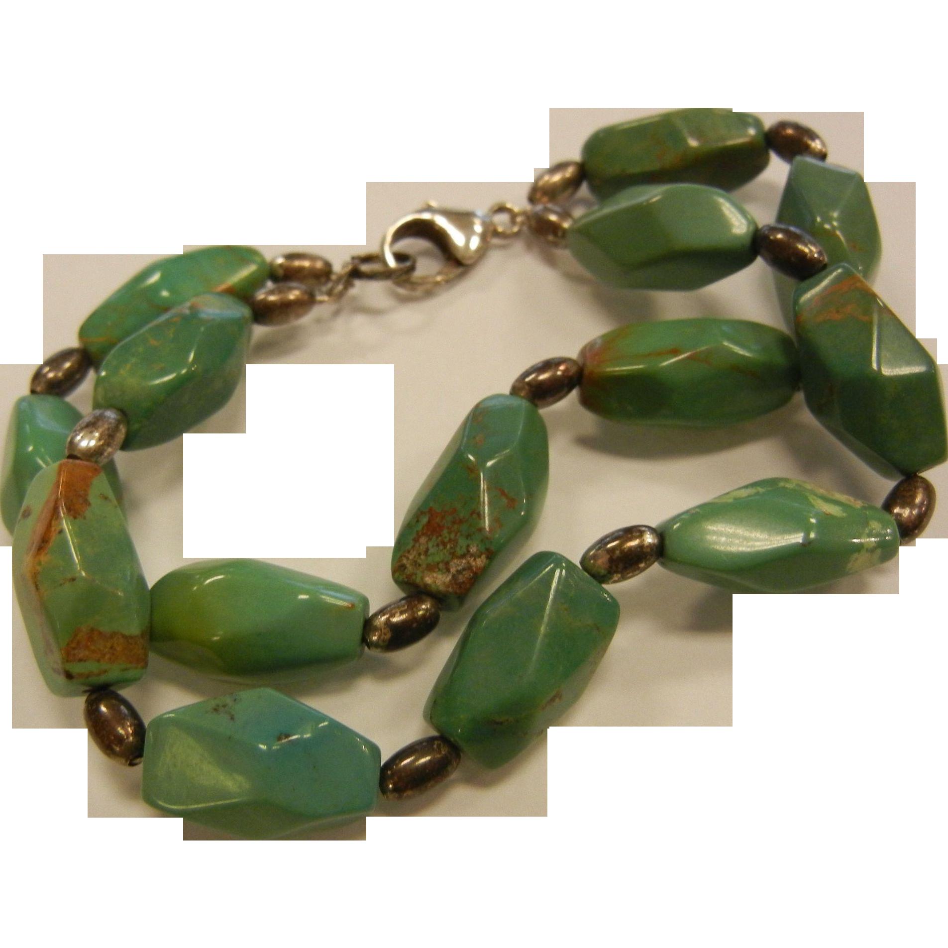 VintageGeometric Polished Natural Turquoise Nugget Bracelet