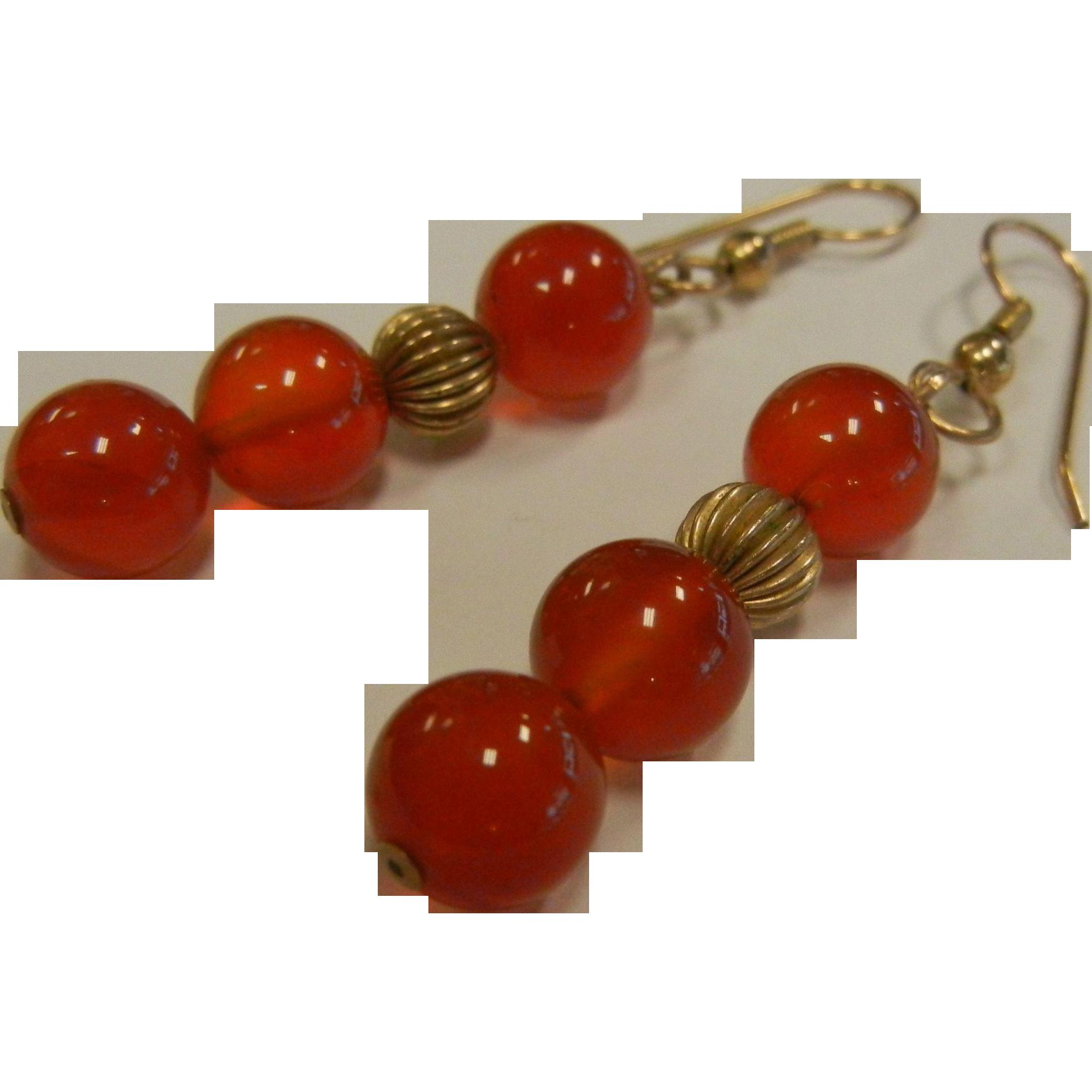 Natural Carnelian Bead Earrings