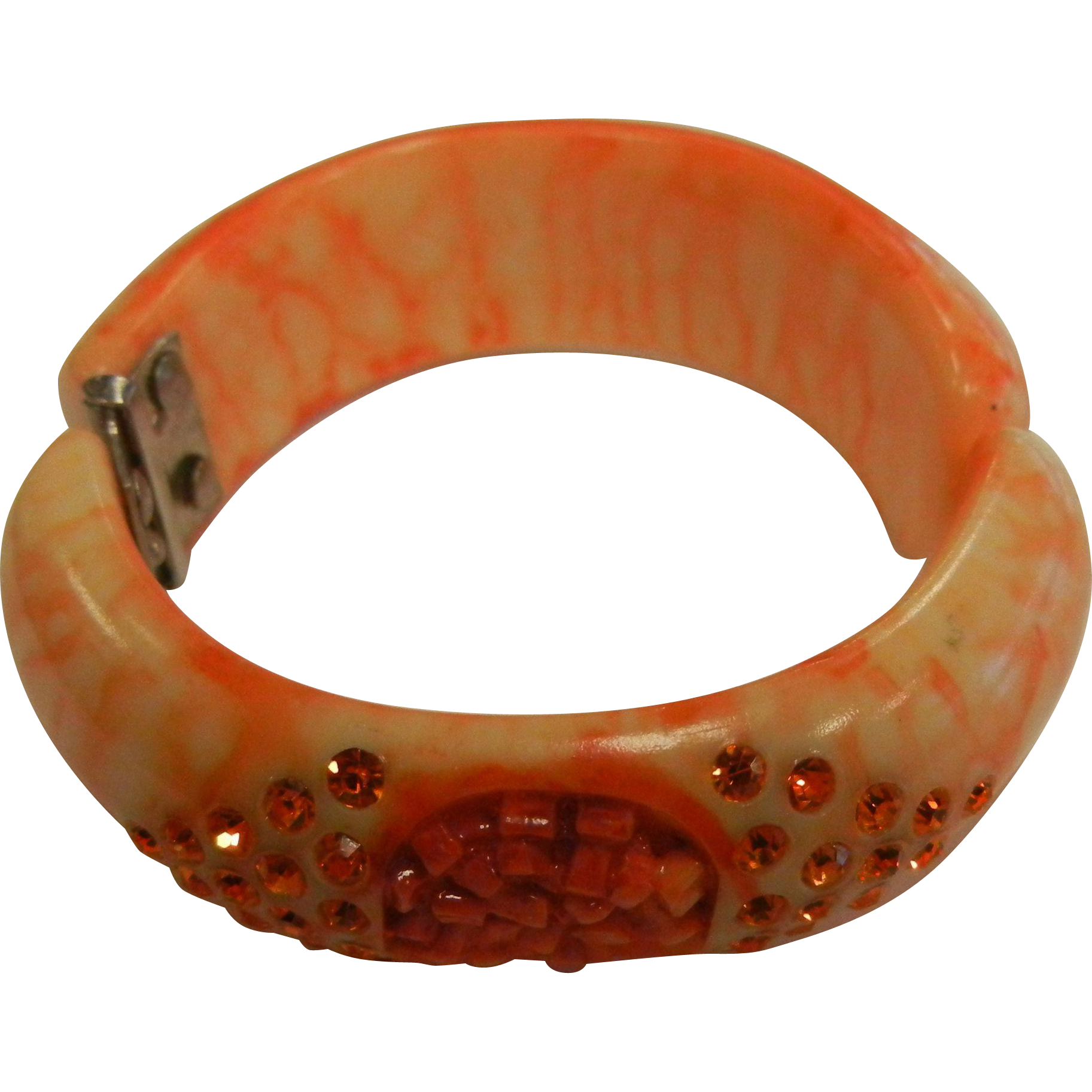 Vintage Carved Orange Swirl End of Day Rhinestone Adorned Bakelite Plastic Clamp Bracelet