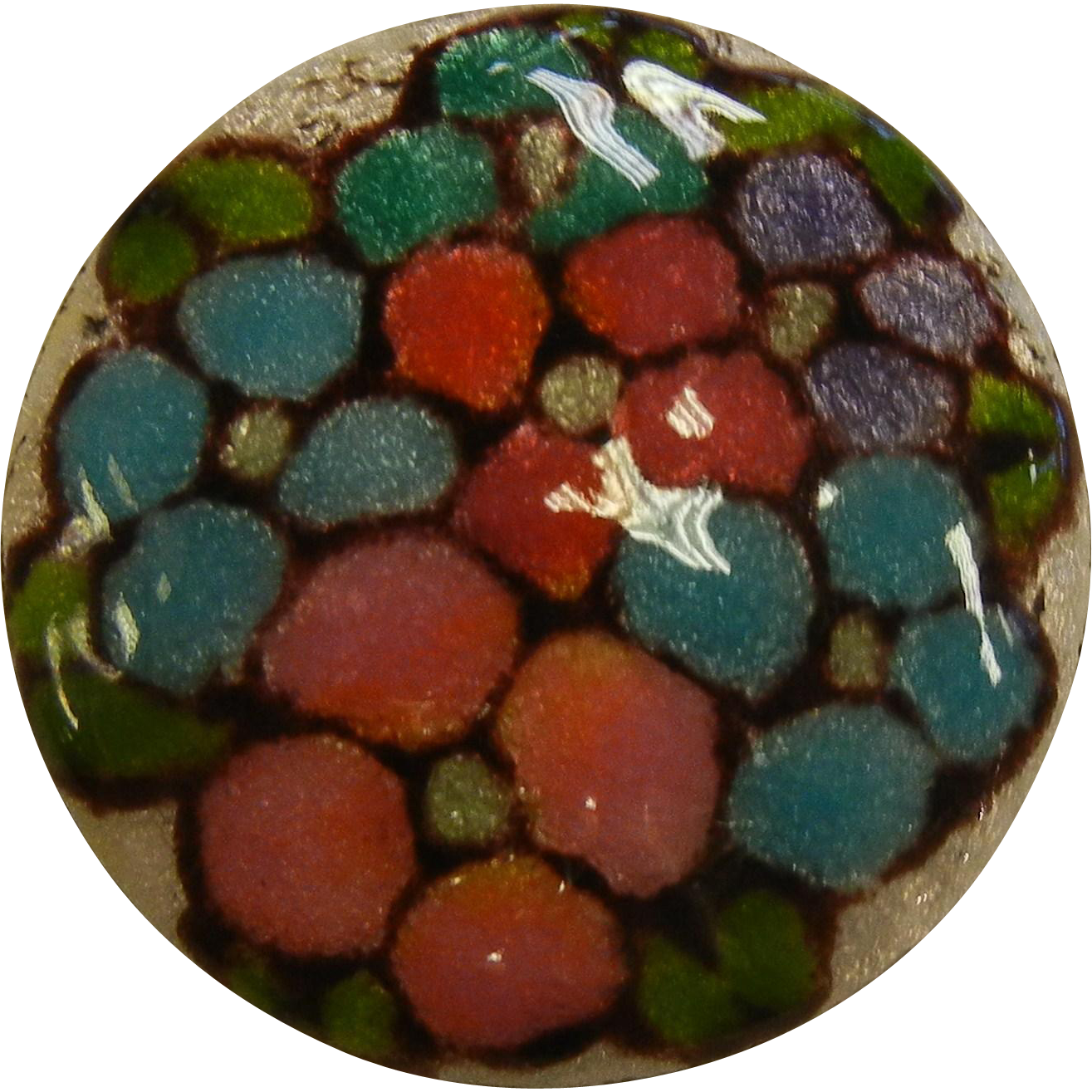 Lovely Vintage Enameled Floral Brooch