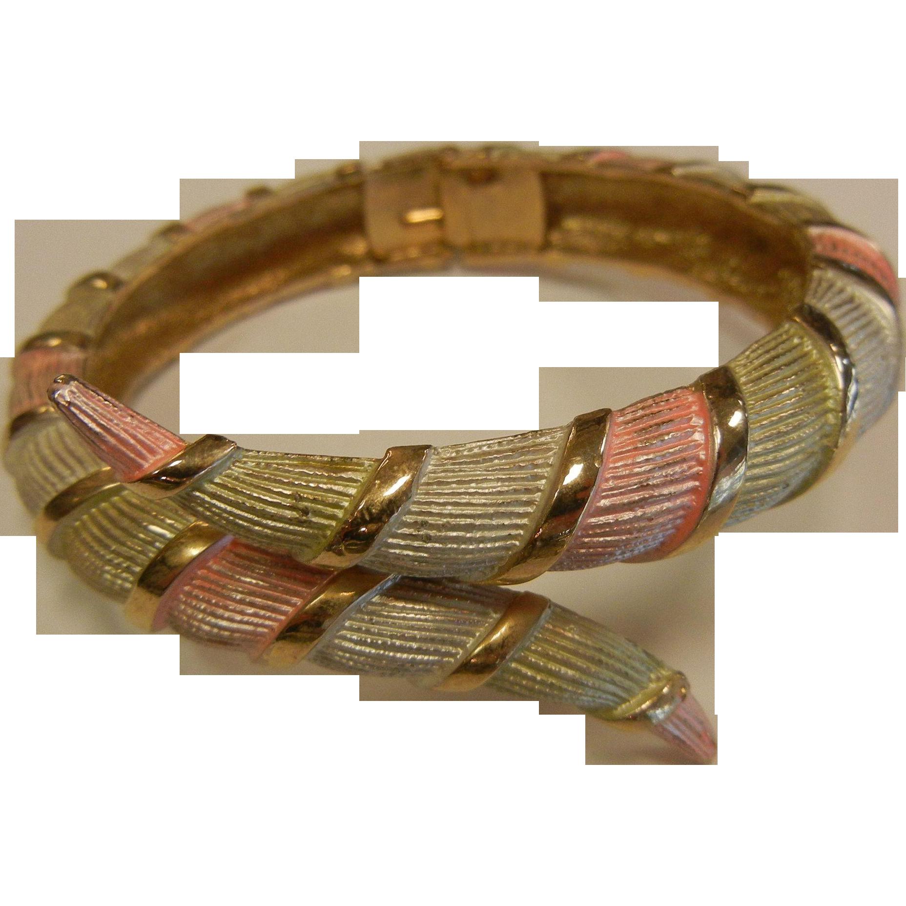Vintage Pastel & Gold-Tone Hinged Cuff Bracelet