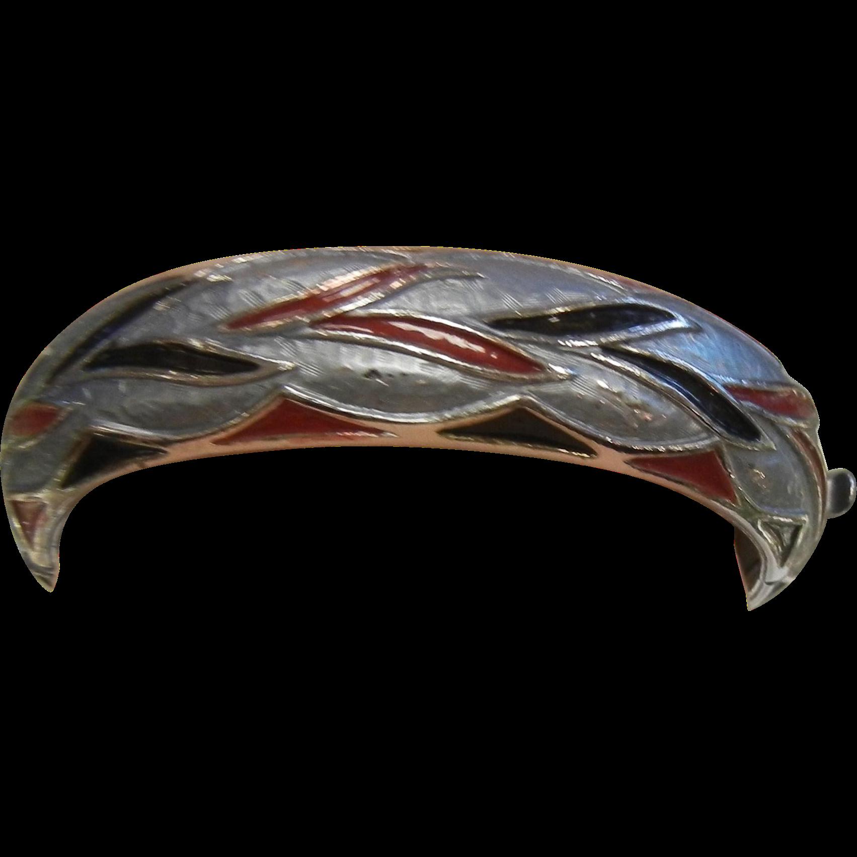 Vintage Silver-Tone Hinged Cuff Bracelet w/ Red & Black Enamel
