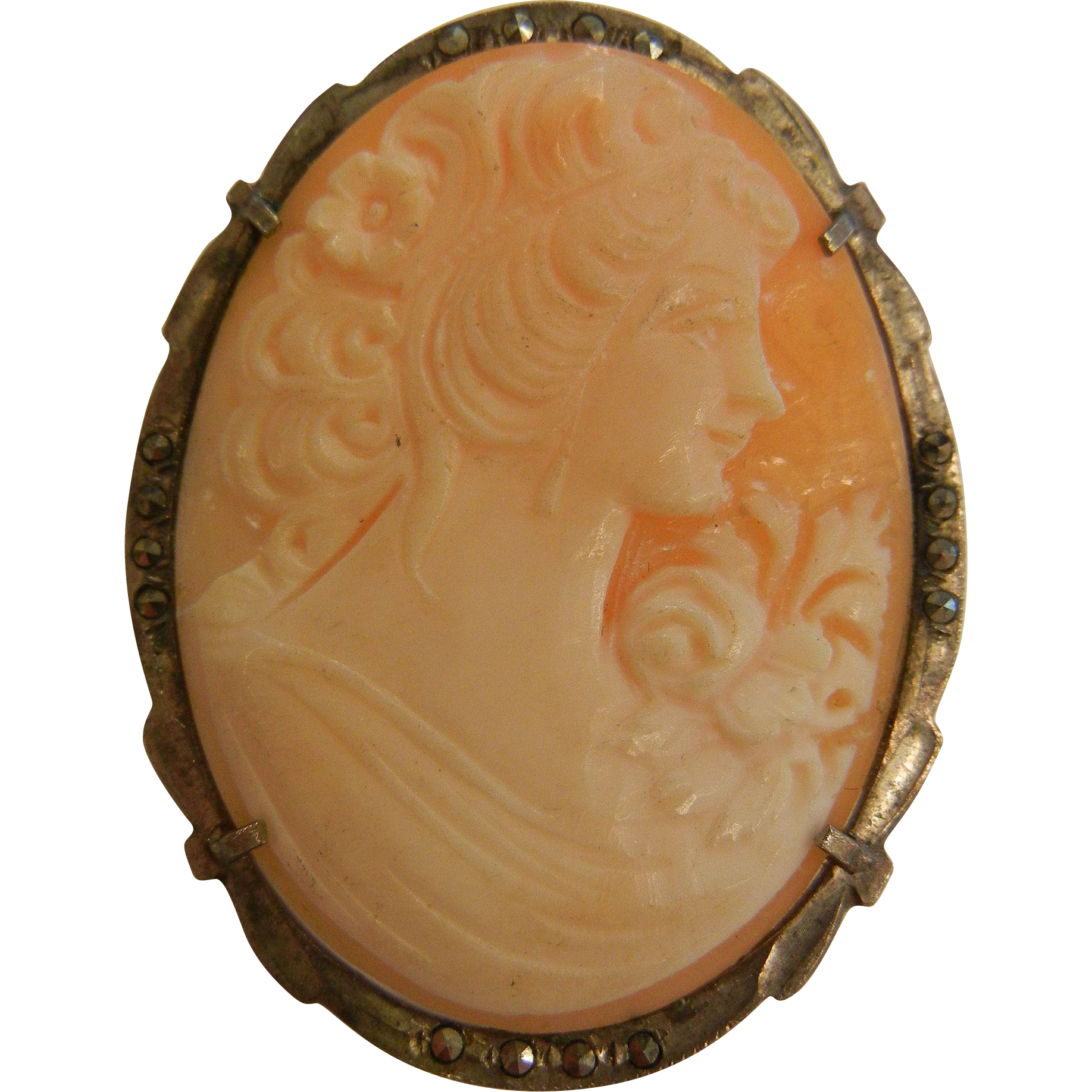 Gorgeous Hand Carved Cameo w/ 850 Silver Marcasite Brooch