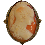 Old Hand Carved Roman Soldier Cameo w/ Gold Filled Brooch
