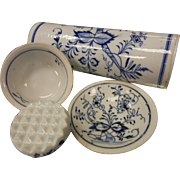 Antique Set of Blue & White Onion Pattern Porcelain Kitchen Utensils w/ Wooden Handles