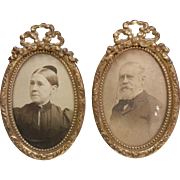 Antique Ornate Bronze Metal Pair of Framed Photographs