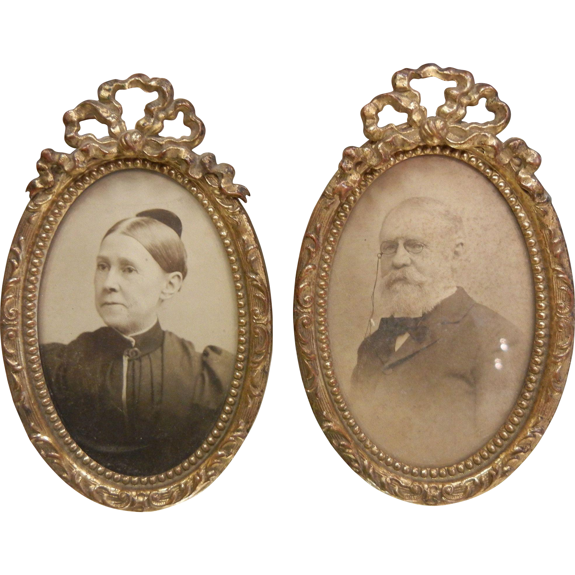 Antique Ornate Bronze Metal Pair of Framed Photographs